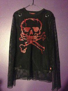 Tripp Nyc Black Fishnet & Red Skull Long Sleeve Shirt Gothic Punk Metal XL