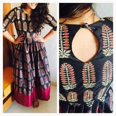 Another unique pattern Kurti Back Neck Designs, Salwar Suit Neck Designs, Neck Designs For Suits, Kurta Neck Design, Dress Neck Designs, Salwar Designs, Blouse Designs, Indian Attire, Indian Outfits