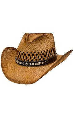 940667cd0c682 Cavenders Brown Tea Stained Raffia Vent Straw Cowboy Hat