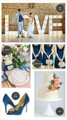 navy wedding | peach wedding | wedding ideas | marquee lighting #weddingchicks