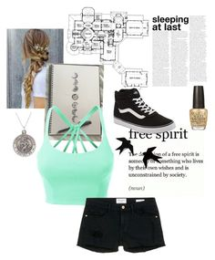"""Untitled #95"" by woahitsmadi ❤ liked on Polyvore featuring LE3NO, Frame Denim, Vans and OPI"