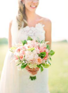 Pink, White, Green bouquet.  Read more - http://www.stylemepretty.com/2013/11/08/mansfield-ohio-wedding-from-lauren-kinsey-fine-art-weddings/