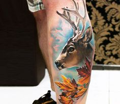 Deer tattoo by Sandra Daukshta