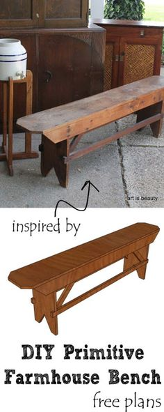 Build a beautiful DIY primitive farmhouse bench for your farmhouse table or extra seating. Free plans on Remodelaholic .