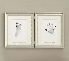 Pottery Barn Kids Silver Leaf Handprint and Footprint Frame