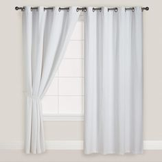 Cost Plus World Market White Parker Grommet Top Curtains (1,360 MXN) ❤ liked on Polyvore featuring home, home decor, window treatments, curtains, solid curtains, cost plus world market, grommet window treatments, grommet curtains, white home accessories and white textured curtains