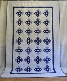 A Sapphire Wedding Quilt - Hungarian Blue textile exhibit 2009, Kékfestő Múzeum (Museum of Indigo Resist Dyeing) (Hungary).  Quilted by Tracey Pereira (UK)