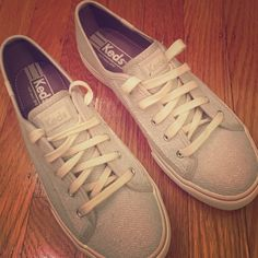 Keds Double Up Metallic Sweatshirt Lace Ups Like new, single wear lace ups by Keds. Sweater outer with white laces. keds Shoes Sneakers
