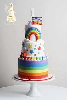 A Roundup of Rainbow Cake Tutorials! Roundup of the best rainbow cake ideas! Girl Cakes, Baby Cakes, Cupcake Cakes, Cupcake Ideas, Rainbow Cake Tutorial, Super Torte, Novelty Birthday Cakes, Rainbow Birthday Party, Savoury Cake