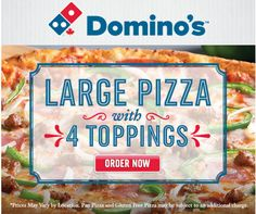 Dominos Pizza Canada Offers: Get 1 Large Pizza 4 Topping For $11.99 & XL For $14.99 With Promo Codes http://www.lavahotdeals.com/ca/cheap/dominos-pizza-canada-offers-1-large-pizza-4/116434