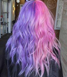 Pink Hair Dye, Dyed Hair Pastel, Hair Dye Colors, Dye My Hair, Pink Purple Hair, Pastel Pink, Pretty Hair Color, Hair Color Dark, Half And Half Hair