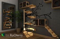 Sala para gatos com playground, tocas, prateleiras, arranhador grande, nicho, escada e ponte.