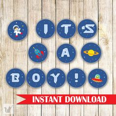 Astronaut Space Banner  Baby Boy Shower Blue Planets by pinkthecat