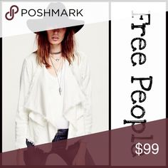 """FREE PEOPLE JACKET Femme Linen 💟NEW WITH TAGS💟 RETAIL PRICE: $128  FREE PEOPLE Jacket Raw Femme Linen Open Front Wrap Coat  * Cascading waterfall open front, broad lapels, & long sleeves  * Incredibly soft stretch-to-fit fabric, jean jacket like  * 2 front flap pockets & adjustable side buckles  * About 24.5""""- 31.5"""" long  * Raw cut edges  Fabric: 51% linen, 46% rayon, & 3% spandex; Machine wash Color: Ivory Item Wrap utility bomber ITEM#FP98900 🚫No Trades🚫 ✅ Offers Considered*✅ Free…"""