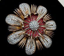 Crown Trifari Clear and Red Rhinestone Flower Brooch - Magnificent!