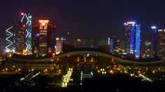 Lotus Hill Park, Futian, Shenzhen.  Lotus Hill Park (Lianhuashan Park) in the Evening