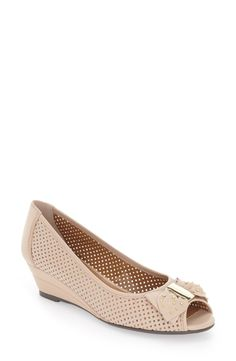 J.Reneé Dovehouse' Perforated Peep Toe Wedge (Women) available at #Nordstrom