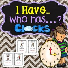 Math Game - I Have, Who Has Game - Reading o'clock & half past times.