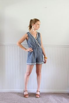 Palindrome Dry Goods: Chambray Romper: McCall's M7577