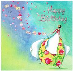 Joyeux Anniversaire - Cartes Postales/Cartes Nina Shen - Lulu Shop Birthday Cheers, Happy Birthday Girls, Happy Birthday Pictures, Birthday Wishes Cards, Happy Birthday Quotes, Birthday Messages, Birthday Favors, Birthday Images, Birthday Greetings