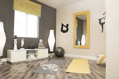 Home Gym - Model Home Design - Yoga Room Yellow & Gray golddiggerinc.com - http://amzn.to/2fSI5XT