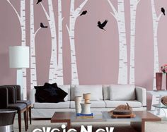 Forest Trees with Birds Wall Decal Thin Birch Trees by smileywalls