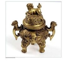 Chinese-Brass-copper-Carved-foo-dragon-censer-Incense-Burner