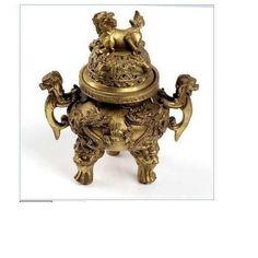 Chinese-Brass-copper-Carved-foo-dragon-censer-Incense-Burner