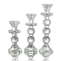 H&D Clear Decor Pillar Crystal Candlestick Holder Dinning House Accessory (Clear-Set of Candlestick Holders, Candlesticks, Home Accessories, Crystals, Glass, House, Dining, Kitchen, Home Decor