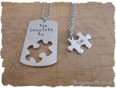 CUSTOM Hand Stamped Jewelry - Puzzle Piece - Couples Set - Relationship - Personalized Stamped Metal - His Her - Matching Set