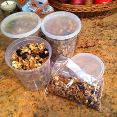 Homemade Granola! ~4 C rolled oats 6 T ground flax and chia seeds 1 C slivered almonds and walnut pieces 1 T cinnamon 1.5 t vanilla 2 C mix honey, applesauce, maple syrup  Mix until distributed - heat on 2 sheets 30 min stirring 1x, until golden brown Add 2 C mixed dried fruits.