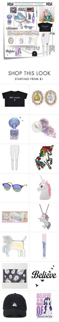 """💜💚💙 UNICORNE TIME 💜💚💙"" by olivia204 ❤ liked on Polyvore featuring Post-It, Bijoux de Famille, River Island, Ray-Ban, Miss Selfridge, Brewster Home Fashions, Artistique, WithChic, Lime Crime and Nivea"