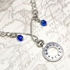 Timepiece Charm Necklace, Sculted Wire, Clock Charm, Watch Charm, Chain Necklace, Clock Charm, Blue Czech Glass Beads,  Time Inspired by SuzetteGaleJewelry on Etsy