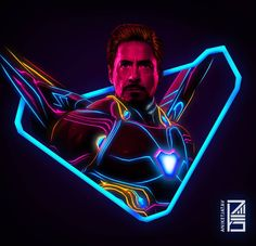 Ironman New Armor:Marvel Neon Potraits Painting Marvel Avengers, Marvel Comics, Marvel E Dc, Marvel Heroes, Captain Marvel, Photo Manga, Robert Downey Jr., Die Rächer, Ironman