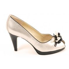 Peter Kaiser Manja peep toe shoes in black and silver - high heel evening shoes