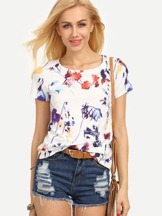 Multicolor Print Short Sleeve T-shirt -SheIn(Sheinside) Mobile Site