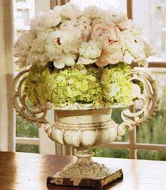 peonies and hydrangeas in an urn Love Flowers, Fresh Flowers, Beautiful Flowers, Wedding Flowers, Nice Flower, Beautiful Bouquets, Flower Ball, Flower Ideas, Simply Beautiful