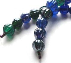 Blue Lustre Mix Handmade Pumpkin 10mm Glass Bead (15) Silverdawn US $1.50