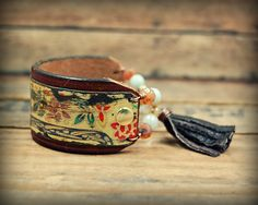 Recycled Leather and Tin Cuff Bracelet Bohemian by PrimitiveFringe