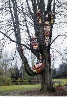 Berlinde de Bruyckere Gedragen Worden 2000, Installation, Blankets, chestnut tree