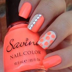 white an orange nail designs