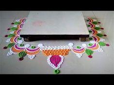 Easy and Simple Puja Rangoli Designs Rangoli Borders, Rangoli Border Designs, Rangoli Designs Images, Beautiful Rangoli Designs, Flower Rangoli, Good Morning Happy, Floor Art, Diwali Decorations, Simple Rangoli