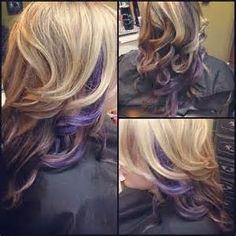 Curly Blonde Hair With Purple Peek A Boo Highlights Pictures, Photos ...