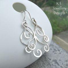 Swirls & Curls Sterling Silver Earrings - Handmade Wirework Hammered Wire Shapes