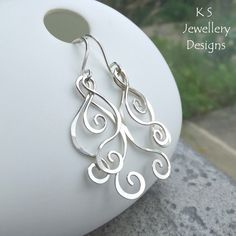 Swirls & Curls Sterling Silver Earrings - Handmade Wirework Hammered Wire Shapes