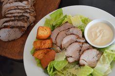 Pork Caesar Salad from Smithfield. So many delicious recipes to make during the week using ready to cook flavored pork tenderloin. #AllstarsSmithfield #Allrecipes #Advertisment