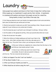 Here is another life skills worksheet.  I wish all my students did their own laundry.  Unfortunately I still have students whose parents w...