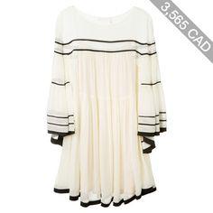 Chloé Cream Silk Crepon Dress With Black Stripes