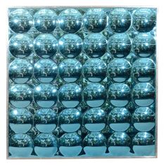 Blue Op-Art Mirror in Aluminum Frame | 1970s