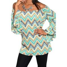 Mint Chevron Print Off the Shoulder Top Blouse Shirt